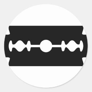 black razor blade classic round sticker