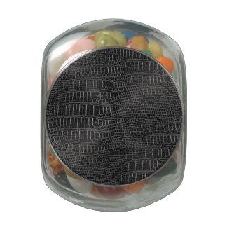 Black Realistic Alligator Skin Look Glass Jars
