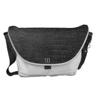 Black Realistic Alligator Skin Look Courier Bags