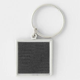 Black Realistic Alligator Skin Look Silver-Colored Square Keychain