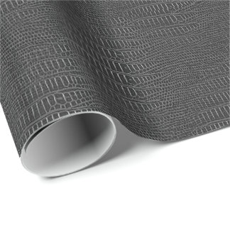 Black Realistic Alligator Skin Look Wrapping Paper
