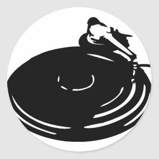 black record turntable classic round sticker