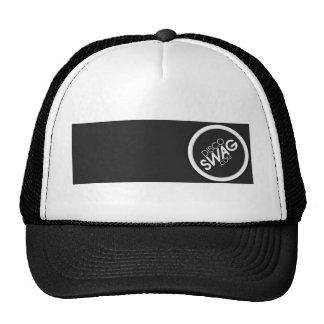 black rectangle logo trucker hat
