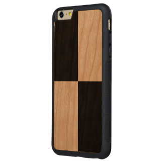 Black Rectangles on Wood Carved Cherry iPhone 6 Plus Bumper Case