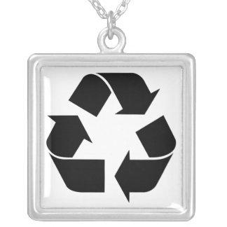 Black Recycling Symbol Pendant