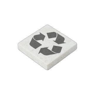 Black Recycling Symbol Stone Magnet