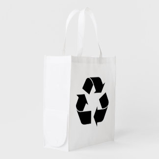 Black Recycling Symbol Grocery Bag