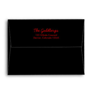 Black Red A7 Return Address Envelope