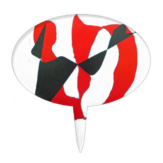 Black Red Abstract Heart Cake Picks
