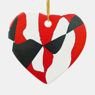 Black & Red Abstract Heart Ceramic Ornament
