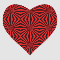 Black Red Abstract Kaleidoscope Geometric Pattern Heart Sticker