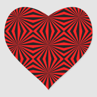 Black Red Abstract Kaleidoscope Geometric Pattern Heart Sticker