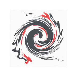 Black Red Abstract Swirl Canvas Print