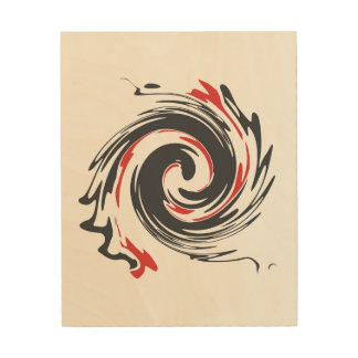 Black Red Abstract Swirl Wood Wall Art