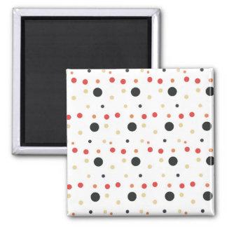 Black Red and Beige Polka Dots Magnet