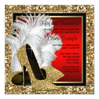 Black, Red and Gold High Heels Birthday Party Card