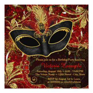 Black Red and Gold Maquerade Party Card