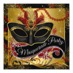 Black Red and Gold Masquerade Party Personalized Invites
