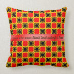 Black, Red and Gold Ogee Pattern Customizable Throw Pillow (<em>$49.60</em>)
