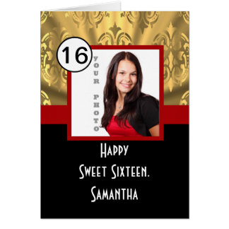 Black red and gold sweet sixteen card