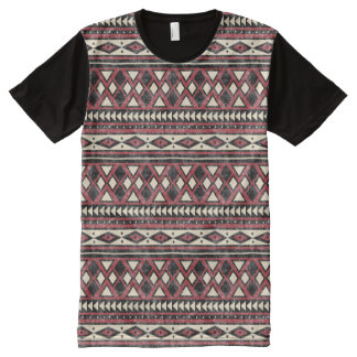 Black Red and Ivory African Pattern All-Over-Print T-Shirt