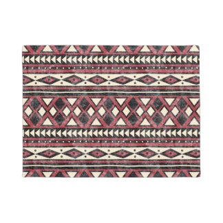 Black Red and Ivory African Pattern Doormat