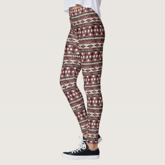 Black Red and Ivory African Pattern Leggings