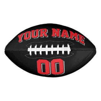 BLACK RED AND SILVER GRAY Custom Football