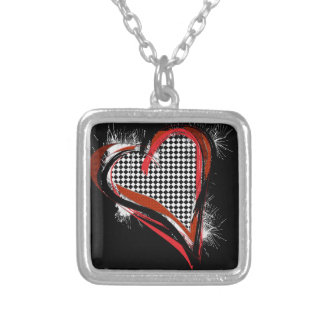 Black, red and white checkerboard heart square pendant necklace