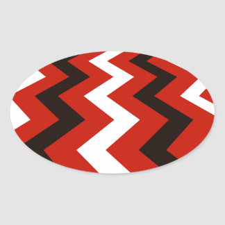 Black,Red and White Chevrons Oval Sticker