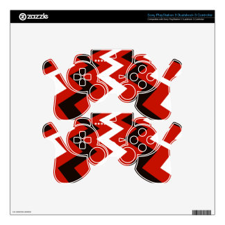 Black,Red and White Chevrons PS3 Controller Decals