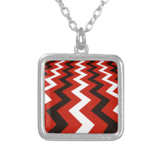 Black,Red and White Chevrons Silver Plated Necklace