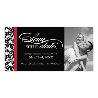 Black, Red and White Damask  Save The Date Card