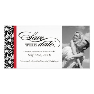 Black Red and White Damask Save The Date Photo Card