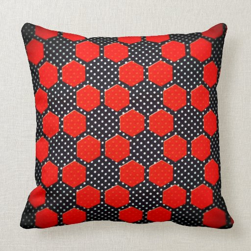 Black White And Red Throw Pillows : BLACK RED AND WHITE HEX THROW PILLOW Zazzle