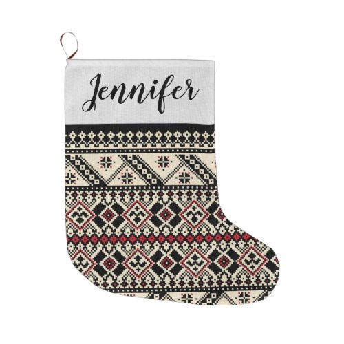 Black Red and White Nordic Christmas Stocking