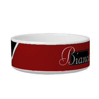 Black, Red, and White Pet Dish - Personalize Name