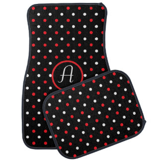 Black Red and White Polka Dots Monogrammed Car Floor Mat