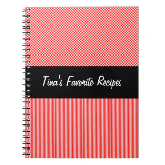 Black, Red, and White Recipe Notebook