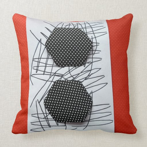 BLACK RED AND WHITE SCRATCH THROW PILLOW Zazzle