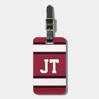 Black Red and White Sports Stripes Personalized Luggage Tag