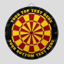 Black Red and Yellow Dartboard with Custom Text