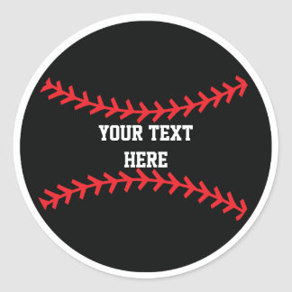 Black Red Baseball Sports Birthday Party Stickers
