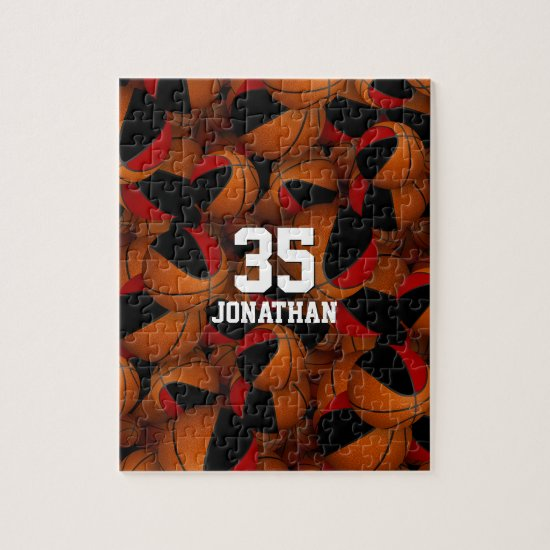 black red basketball team colors personalized jigsaw puzzle