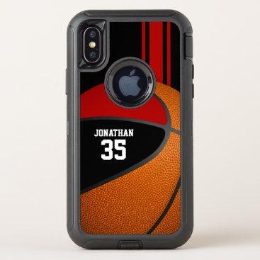 black red basketball varsity team colors boys OtterBox defender iPhone x case
