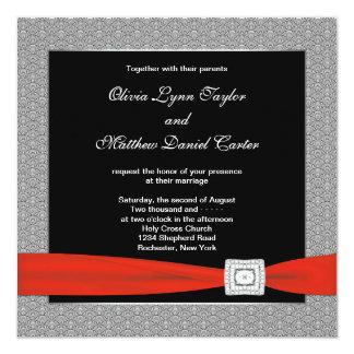 Black Red Black Wedding Card
