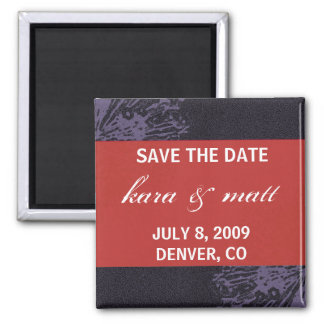 Black & Red Blossom Save the Date Fridge Magnet