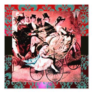 BLACK RED BLUE BICYCLE WEDDING DAMASK MONOGRAM ANNOUNCEMENT