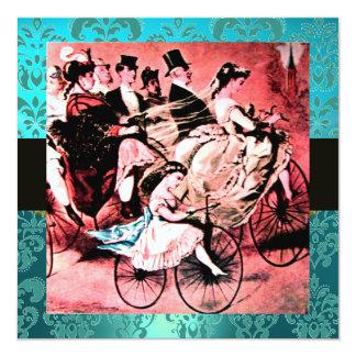 BLACK RED BLUE BICYCLE WEDDING DAMASK MONOGRAM INVITATION