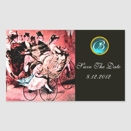 BLACK RED BLUE BICYCLE WEDDING DAMASK MONOGRAM RECTANGULAR STICKER